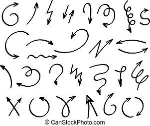 doodle, vetorial, setas, isolado, branco, experiência., mão, desenhado, jogo
