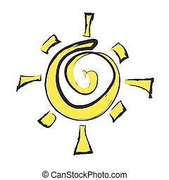 doodle, vetorial, sol, ilustração