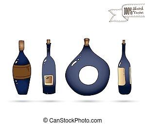 doodle, vetorial, vinho, style., bottles.