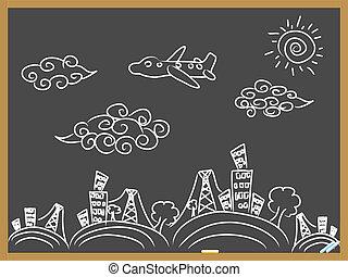 doodle, viagem, fundo, drew, quadro-negro