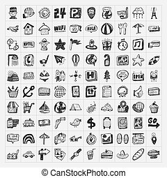 doodle, viagem, jogo, ícones