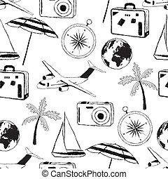doodle, viagem, padrão