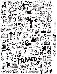 doodle, viagem, transporte
