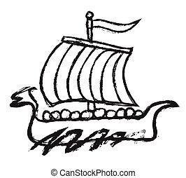 doodle viking ship, viking boat