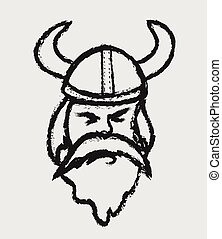 doodle viking warrior head mascot