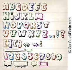 Doodle Vintage ABC Elements