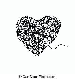 doodle, w, kształt, od, serce