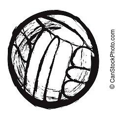 doodle water polo ball, vector