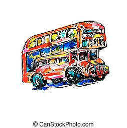 doodle watercolor sketch painting of London symbol - red bus