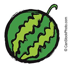 doodle watermelon, vector