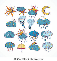 Doodle weather forecast design elements