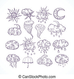 Doodle weather forecast graphic symbols - Doodle weather...