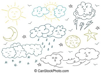 Doodle weather set. Collection of hand drawn elements.