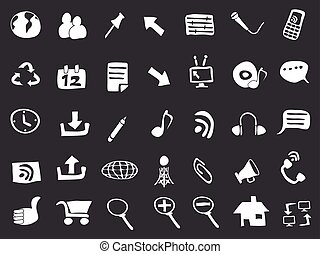 doodle web icons on black background