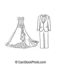 doodle wedding dress and suit, excellent vector...