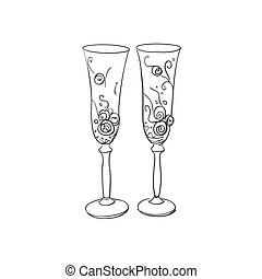 doodle wedding glasses