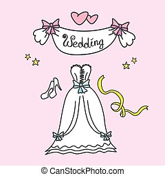 doodle wedding  greeting card, hand drawn, vector illustration