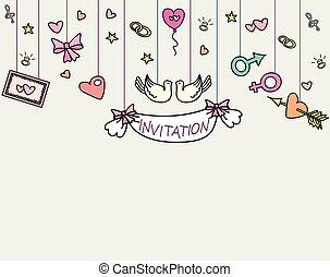 Wedding invitation card set vintage birds invitation table signs doodle wedding invitation card hand drawn vector illustration stopboris Images
