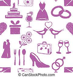 doodle wedding seamless pattern