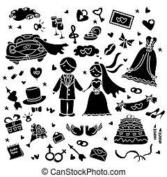 doodle wedding set, hand drawn