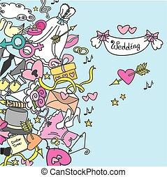 doodle wedding set, hand drawn,