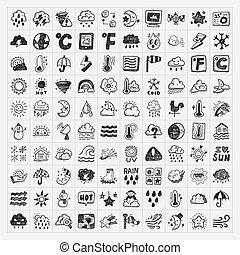 doodle, weer, set, iconen