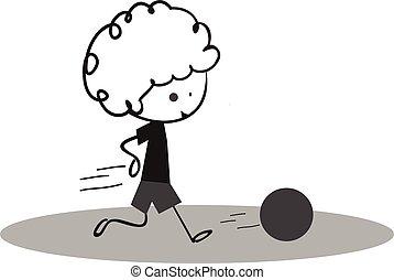 doodle, weinig; niet zo(veel), voetbal, spelend, jongen