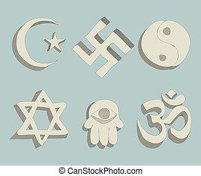 doodle, wektor, religijny, znaki
