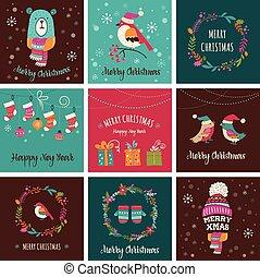 doodle, -, wenskaarten, ontwerp, vrolijk, illustraties, kerstmis