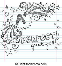 doodle, wielki, plus, szkoła student