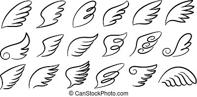 Doodle wings. Cartoon bird feather wings, religious angel wings ink sketch, black tattoo silhouette. Vector hand drawn set