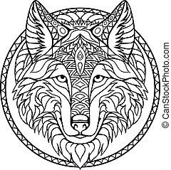 Doodle wolf coloring book outline drawing in vector