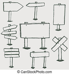 Doodle Wood Signs And Direction Arrows - Illustration of a...