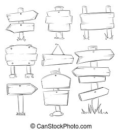 Doodle wood signs, hand drawn wooden direction arrows vector set