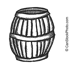 doodle wooden barrel, vector illust