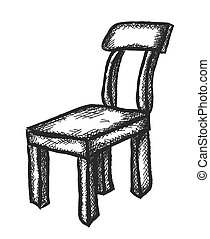 doodle wooden chair, vector