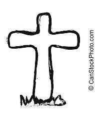 doodle wooden cross grave, vector
