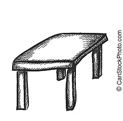 doodle wooden table, vector