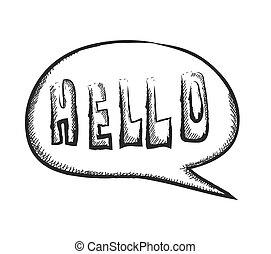 doodle word hello speech bubble