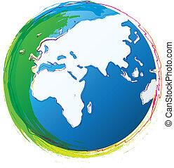 Doodle World - Illustration of colorful world globe drawn ...