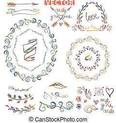 Doodle wreath ,floral decor.Colored watercolor,crayon...