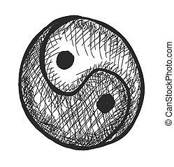 doodle yin yang symbol, vector
