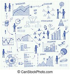 doodle, zakelijk, diagrammen, infographics, communie
