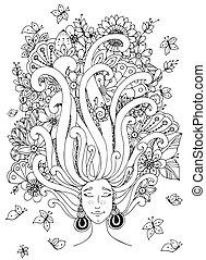 doodle, zen, white., książka, adults., wektor, sleeps., anti, dziewczyna, siła, włosy, kwiaty, splątać, jej, czarnoskóry, ilustracja, piegi, butterfly., kolorowanie