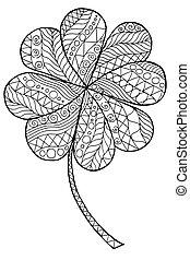 Doodle zentangle clover shamrock Saint Patrick's Day vector