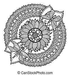 doodle, zomer, cirkel, mandala., bloem