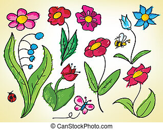 Doodled flowers