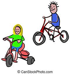 doodle:kids, op, fiets
