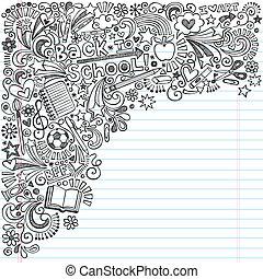 doodles, école, cahier, dos, encre