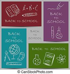 doodles, école, dos, bannières